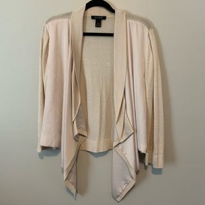 Women's WHBM champagne draped open front cardigan